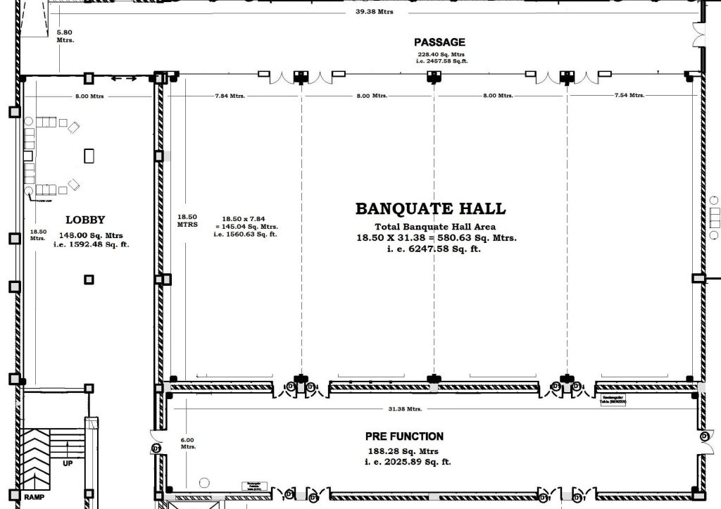 Floor plan drawing the grand ballroom for Banquet hall floor plan